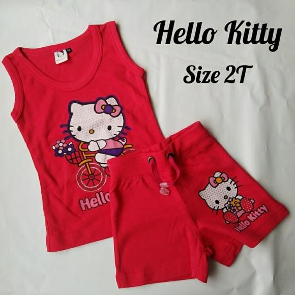 e1d17328a Hello Kitty Matching Sets   New Summer Pink Play Set Toddler Girl ...